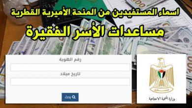 Photo of بالأسماء .. رابط فحص المنحة القطرية 100 $ للأسر الفقيرة بغزة
